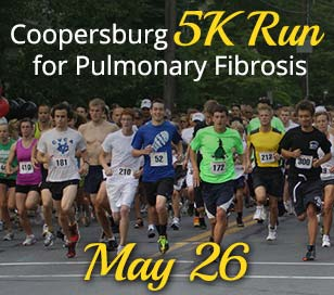 The event starts and finishes on Main Street in Coopersburg, PA. The 5K route is on a scenic loop course through the historical district of Coopersburg Borough. You will pass by The Cooper Mansion, The Big Red Barn, as well as Coopersburg's beautiful residential areas. Slight hills are characteristic. The final stretch is down Locust Street onto Main Street. There is plenty of room along the route for family and friends to cheer participants. Bring your megaphones and poms poms to cheer on the runners. Cost is $30 per person; families who register more than 3 participants will receive a $10 discount for each family member registered thereafter. All school running clubs will receive $10 discount per runner. You will need verification of membership (e.g. school/coach roster). Registration form must be postmarked by Friday, May 18, 2018. After Friday, May 18, the fee is $38. Race day registration will be accepted until 7:15 a.m. Sorry, no guarantee of packet materials or Tee shirt for those registering on race day. MAKE CHECK PAYABLE TO: 2018 Wescoe Foundation for Pulmonary Fibrosis or WFPF. We recommend that you plan to arrive in Coopersburg early enough to allow adequate time to park should some designated parking areas be full. IMPORTANT: Coopersburg streets will be blocked with barriers to all traffic beginning at 7:45 am. Go to www.coopersburg5K.org to get more information about the 2018 Coopersburg 5k Run for Pulmonary Fibrosis. Learn, too, about Wescoe Foundation for Pulmonary Fibrosis heartfelt cause, programs and services at www.wescoefoundationforpulmonaryfibrosis.org!