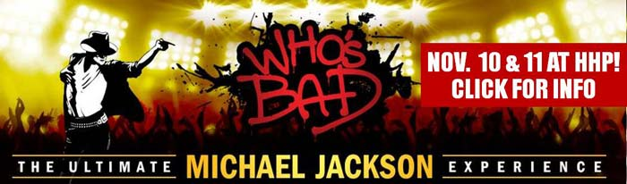 The ultimate music and dance celebration of pop music's one true King, Who's Bad is the premiere Michael Jackson tribute show at Hunterdon Hills Playhouse. Delivered with soul and precision, from the gravity-defying dance moves to the six piece band's synchronized dance routines, the entire performance is superseded by no one but the King himself! It's a jaw-dropping musical must-see! The ticket price of $82.50 includes show, entrée, salad and sides, dessert, hot coffee or hot tea, tax and gratuity.